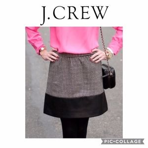 J CREW Houndstooth Faux Leather Mini Skirt